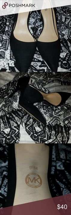 NEW ITEM - MK BLACK VELVETY SUEDE HEELS Sexy, black, 3.5 inch  Michal Kors heels. Theses beauties are like new condition . There are tiny scuffs on the heels, pics 3 and 4, not noticeable when worn. Michael Kors Shoes Heels