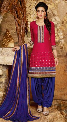 USD 31.68 Deep Pink Cotton Embroidery Punjabi Suit 44856