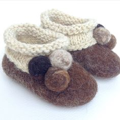 """""""Pom-pom"""" Adorable Handmade Felted Baby's Booties size 2, 100% lamb wool; brow colour; beige colour woollen knitted decoration and multicoloured felted Pom-Pom; soles are protected with non-slip latex layer. These adorable booties are available to order in different colours and sizes #handmade #babyshoes #booties #felted #felt #pom-Pom #adorable #gift #woollen #wool"""