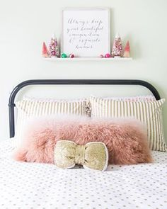 A little girl's holiday fantasy bedroom from Rose Gold and Pink Holiday Home Decor - House by Hoff Hemnes, Little Girl Rooms, Little Girls, Paper Bag Flowers, Polka Dot Bedding, Fantasy Bedroom, Holiday Centerpieces, Gold Pillows, Girls Bedroom