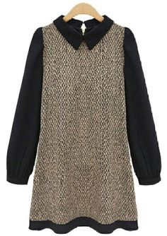 831226e261ee9 Yhting Women Autumn Thicker Chiffon Patchwork Peter Pan Collar Knitwear  Dress L Brown     Find out more about the great product at the image link.