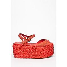 Jeffrey Campbell Cabo High Wedge Platform Sandal Red ❤ liked on Polyvore
