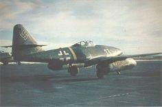 Jet fighter Messerschmitt Me-262A-1a from the third group of the 2nd Fighter Squadron pilot Luftwaffe (III / EJG 2).