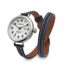 Shinola Ladies' Birdy Stainless Steel White Dial Watch with Blue Leather Strap Wrap Watches, Jewelry Watches, Shinola Detroit, Leather Watch Bands, American Jewelry, Bracelet Watch, Stuff To Buy, Accessories, Midlife Crisis