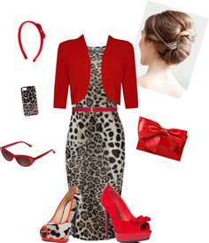 Leopard & Red by estes9011 ❤ liked on Polyvore