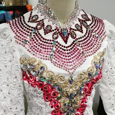 Irish Dance Solo Dress in White with Intricate Coral, Gold and White Embroidery and Pink Crystal Accents A little busy, but I love the embroidery