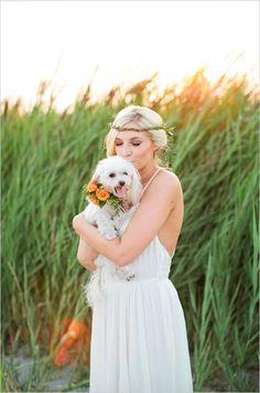 Boho bridals with super cute little doggie. Captured by Callie Hobbs Photography. #weddingchicks http://www.weddingchicks.com/2014/08/19/sunset-beach-hair-and-bouquet/