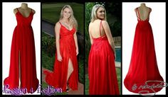 Bright red lace bodice flowy matric dance dress, with an open back, a slit and a train with back strap details. #mariselaveludo #fashion #matricdance #matricdress #passion4fashion #lace #reddress #redflowydress #promdress #eveningdress #promdress
