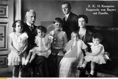 Princess Antonia, now Crown Princess of Bavaria, with her husband, Crown Prince Rupprecht and 5 of their 6 children, left to right:  Princess Irmingard, Princess Editha, Prince Heinrich, Princess Gabrielle, and Princess Hilda.  Princess Sophie would arrive 6 years later.  The young man in the back is Prince Albert, only surviving child from the Crown Prince's 1st marriage, and his heir.