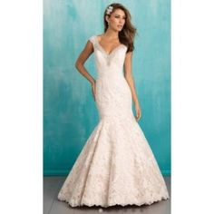 Princess Lace Mermaid Wedding Dress • Ava's Bridal Couture Bridal Dresses Online, 2016 Wedding Dresses, Wedding Dress Styles, Bridal Gowns, Wedding Frocks, Allure Bridals, V Neck Wedding Dress, Lace Mermaid Wedding Dress, Lace Wedding