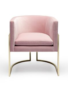 ELEGANT CHAIR DESIGN |  a soft pink chair with brass base for a feminine decor…