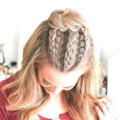 Edgy prom hair - kantiges abschlussballhaar - cheveux de bal edgy - pelo de fiesta nervioso - half up prom hair, prom h Medium Hair Styles, Curly Hair Styles, Hair Medium, Medium Long, Short Hair Braid Styles, Hair Braiding Styles, Braids For Short Hair, Hairstyle Short, How To Braid Hair