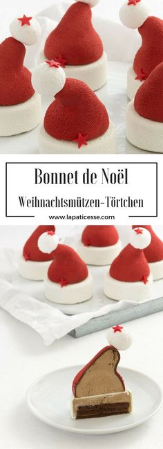 "Rezept für Weihnachtsmützen-Törtchen ""Bonnet de Noël façon Fauchon"" mit Nuss-Nougat und Milchschokolade * Recette de Entremets Bonnet de Noël façon Fauchon. Chocolat au lait et Gianduja * Recipe for christmas hats dessert with milk chocolate and gianduia * #Weihnachtsrezept #Foodblogger #Marshmallows * Made by La Pâticesse"