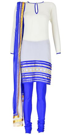 Selection of beautiful colours makes a outfit awesome ......combination of white and royal blue is one of it...