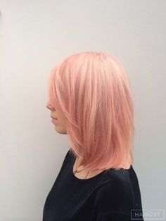 bob long one length pink hairstyle