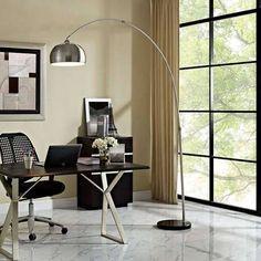 LexMod Sunflower Round Floor Lamp in Black