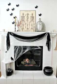Black and white decor for Halloween