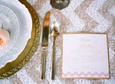 Pink and Gold Wedding Menu Copper Willow Paper Studio Chelsea Mitchell Photo