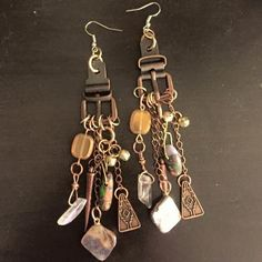 aaseagypsy jewels; gypsy buckle down and jangle dangle earrings;