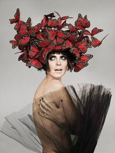 I wish I was Heidi Klum and lived in a world where it's okey to wear butterflies as a hat. Photo by Ruven Afanador.