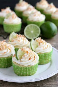 Coconut Lime Cupcakes - Dessert Now, Dinner Later!-These Coconut Lime Cupcakes are the perfect mix of tropical and citrus flavors, with a lime and coconut cupcake base, coconut cream cheese frosting, and toasted coconut on top! Lime Desserts, Coconut Desserts, Coconut Recipes, Just Desserts, Delicious Desserts, Yummy Food, Refreshing Desserts, Summer Desserts, Healthy Food