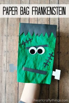 This paper bag Frankenstein is a fun Halloween craft for kids that they can play with afterwards as a puppet