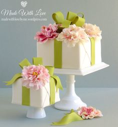 Beautiful Cake Pictures: Gift Wrapped Single Tiered Square Little Cakes: Birthday Cakes, Cakes with Flowers, Cakes with Ribbons