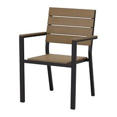IKEA - FALSTER, Armchair, outdoor, black/brown,  , , Can be stacked, which helps you save space.You can make your chair more comfortable and personal by adding a chair pad in a style you like.Polystyrene slats are weather-resistant and easy to care for.The furniture is both sturdy and lightweight as the frame is made of rustproof aluminum.