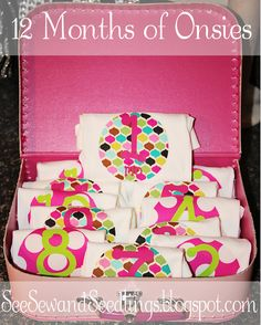 Awesome baby gift...personalized 12 month onesies given in personalized suitcase! (from See Sew and Seedlings)
