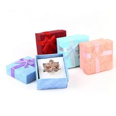 New 1PC 4*4cm High Quality Jewery Organizer Box Rings Storage Box Small Gift Box For Rings Earrings 4Colors  Price: 1.03 USD