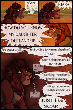 | The Lost Days of Kovu and Kiara page 41 | << First < Previous | Next > -------------------------------------------------------------- Oh boy, Kovu, you should not have said that. And ... Lion King 1, Lion King Fan Art, King Art, Lion Story, Le Roi Lion, Do You Know Me, Live Action, Disney Pixar, Outlander