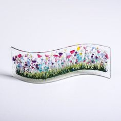 Handcrafted Fused Glass Art Wild Garden Wave by PamPetersDesigns Fused Glass Art, Mosaic Glass, Glass Flowers, Wild Flowers, Flower Pictures, Red Poppies, Glass Ornaments, Colored Glass, Hand Painted
