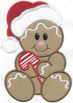 Gingerbread Santa Applique iron on patch machine embroidered - Her Crochet Christmas Applique, Christmas Sewing, Christmas Embroidery, Christmas Shirts, Christmas Projects, Gingerbread Crafts, Christmas Gingerbread, Creeper Minecraft, Best Embroidery Machine