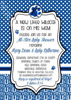 All Star - UK- Kentucky - Little Wildcat Printable Baby Shower Invitation by BluegrassWhimsy, $15.00