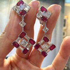 Paco Art (@pacoarthk) on Instagram: Beautiful set of ruby and diamond earrings.  #exceptionalpiecesofart