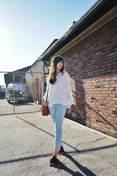 Be There With Bells On | FRESH FIZZLE White Jeans, Bell Sleeves, Kicks, Stripes, Fresh, My Style, Outfits, Fashion, Outfit