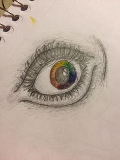 Rainbow eye done with pencil and watercolor ~ Sadie Hickerson