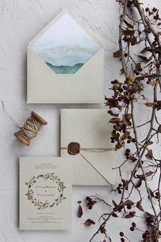 Greenery watercolor wedding invitations, handmade envelopes with wax seal and twine string / © PAPIRA invitatii de nunta personalizate