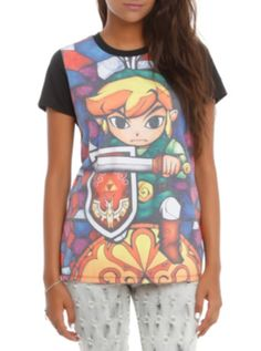 Nintendo The Legend Of Zelda: The Wind Waker Stained Glass Girls T-Shirt