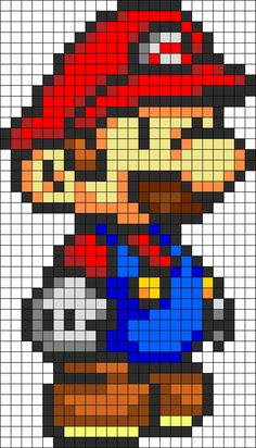 Mario Perler Bead Pattern / Bead Sprite - Sprite - Ideas of Sprite Pearler Bead Patterns, Perler Patterns, Kandi Patterns, Perler Bead Mario, Perler Beads, Pixel Art Mario, Super Mario, Crochet Pixel, Mario Crochet