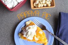 Let's talk about PIE! :) Because we have an abundance of PAPAYAS growing on our property right about now, I decided to have some fun with a Papaya Pie. It came out DE-Licious, and (a… Best Dessert Recipes, Fun Desserts, Real Food Recipes, Cooking Recipes, Yummy Food, Papaya Growing, Home Bakery, Raspberry Cake, Fruit Tart