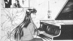 "Rei Hino (Sailor Mars) playing piano from ""Sailor Moon"" series by manga artist Naoko Takeuchi."