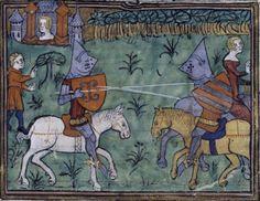 14th century helmet / helmets ( manuscript : BNF Français 338 Guiron le Courtois, Folio 208, 1380-1390, France )