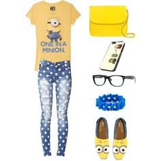 A fashion look from August 2013 featuring Forever 21 jeans, Marni shoulder bags and Marc by Marc Jacobs bracelets. Browse and shop related looks. Minions, My Minion, Minion Things, Minion Party, Minion Stuff, Rave Outfits, Chic Outfits, Trendy Outfits, Summer Outfits