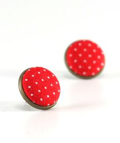 Red Stud Earrings  Red Polka Dots Earring by PatchworkMillJewelry