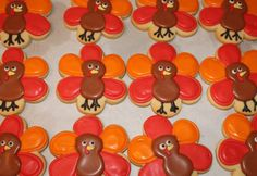 TURKEY Thanksgiving Fall Theme Holiday Decorated Sugar Cookies Party Favors1 Dozen (12) on Etsy, $39.00