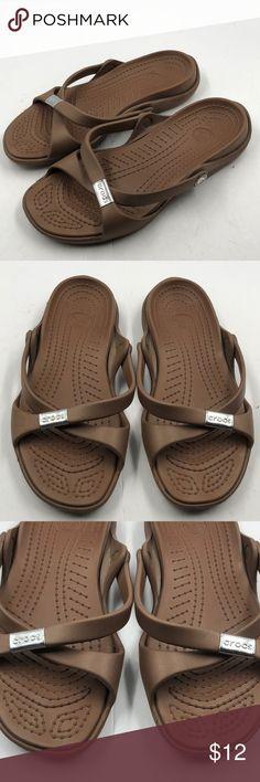 Crocs Women's Brown Slide Sandals 7 Cute pair of Crocs brown slide sandals.  Women's size 7.  Bundle discount.  Fast shipping. CROCS Shoes Sandals