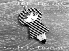 Little doll pendant Jolie Poupée stripes pattern by lesfollesmarquises at etsy.com (The illustration is designed and printed by me, hand cut, baked, then several coats of varnish are applied to give it an enameled finish. Materials : shrinking plastic, ink, varnish, nickel free silver plated metal.)