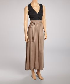black & tan tie waist maxi dress