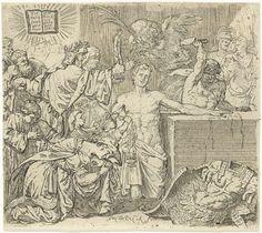 Jan Claudius de Cock   Marteling van de heilige Quirinus van Neuss, Jan Claudius de Cock, c. 1683 - before 1736   De heilige ligt in het midden geknield bij een blok waarop hij zijn linkerhand heeft neer gelegd. Rechts staat een beul op het punt om Quirinus de hand af te hakken. Naast Quirinus knielt een vrouw op de grond met de afgehakte hand van de heilige.